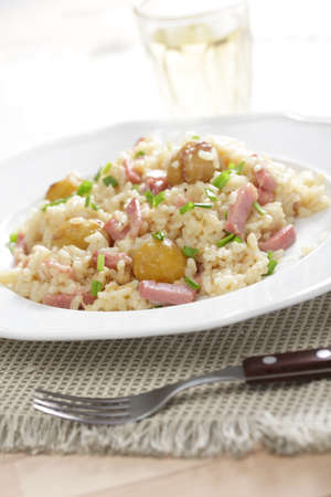 Ham and chestnuts risotto with white wine Stock Photo - 9820319