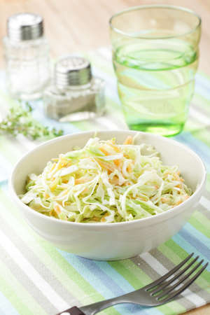 Coleslaw salad in the bowl closeup
