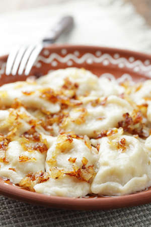 Dumplings with mashed potato and roasted onion on the rustic plate