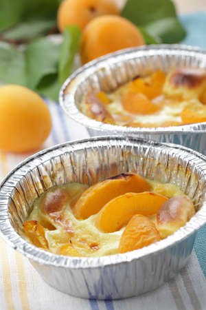 Clafoutis with apricot in the disposable baking dish Stock Photo - 9948533