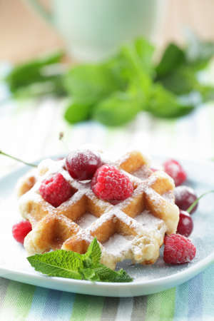 Waffles with raspberry and cherry on the plate closeup. Shallow DOF photo