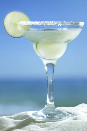 Margarita served with slice of lime and salt on the glass rim Stock Photo