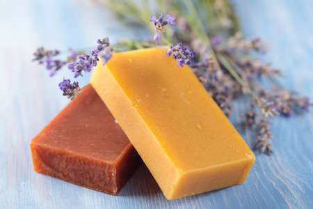 Natural olive oil soap and lavender photo