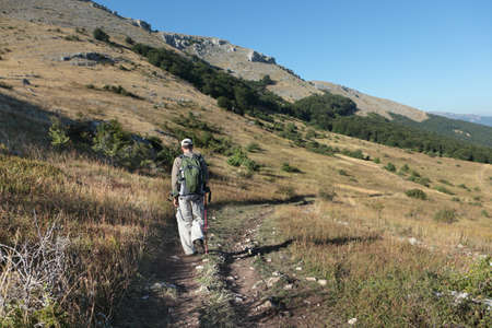 trekking pole: Hiker with backpack and trekking pole on the trail in mountains Stock Photo