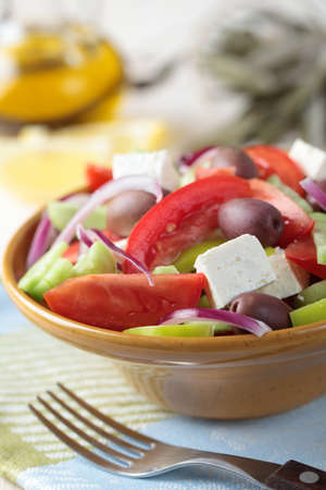 Greek salad with feta cheese and calamata olives in a bowl Stock Photo - 11294019
