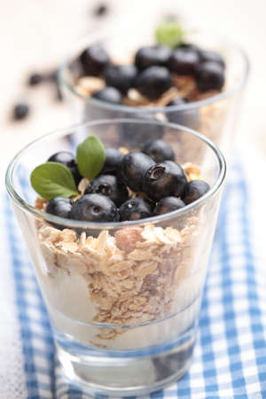 Muesli with Greek yogurt and blueberry in a glass photo