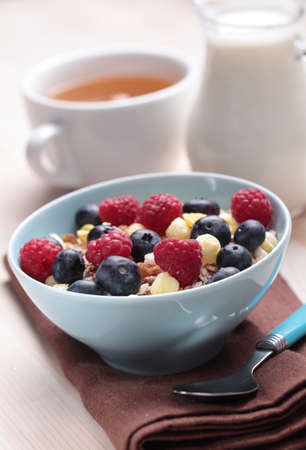 Muesli with blueberry and raspberry photo