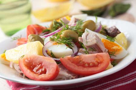 Nicoise salad with tuna, eggs, and vegetables on a plate closeup photo