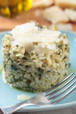 Risotto with dill and Parmesan cheese photo
