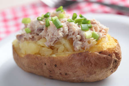 Baked potato with tuna salad and green onion on white plate