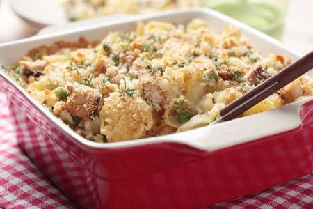 Tuna casserole with pasta and crumbs Standard-Bild