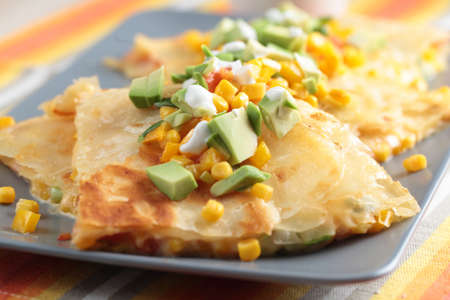 Vegetarian quesadilla with sour cream  Shallow DOF