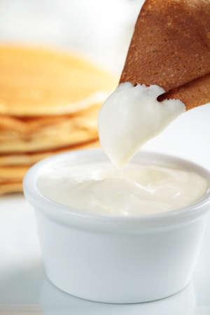 Crepe with sour cream closeup Stock Photo - 12726079