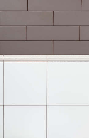 clinker tile: Background of white and brown tiles with beige border Stock Photo