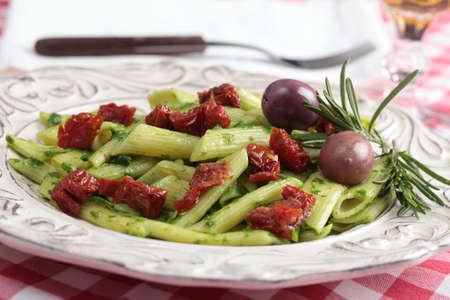 sundried: Salad with macaroni, pesto, olives, sun-dried tomatoes, and rosemary