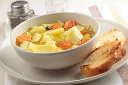 Minestrone with pasta and crostini photo