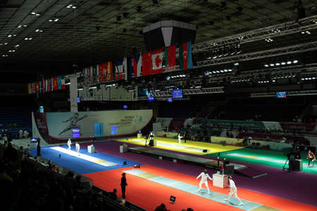 epee: KIEV, UKRAINE - APRIL 14, 2012: Mens epee competitions during World Fencing Championship on April 14, 2012 in Kiev, Ukraine