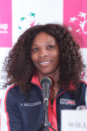 KHARKOV, UKRAINE - APRIL 19, 2012  Serena Williams on the press-conference before FedCup Tie between USA and Ukraine in Superior Golf   Spa Resort, Kharkov, Ukraine at April 19, 2012 Stock Photo - 13289121