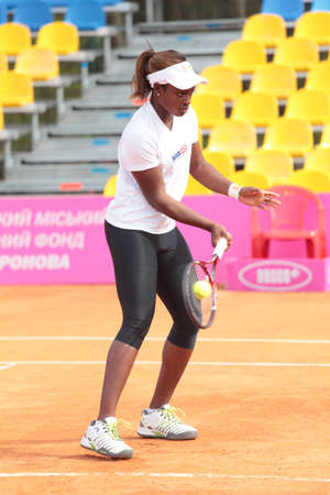 KHARKOV, UKRAINE - APRIL 19, 2012  Sloane Stephens before training duringFed Cup Tie between USA and Ukraine in Superior Golf   Spa Resort, Kharkov, Ukraine at April 19, 2012 Stock Photo - 13289106