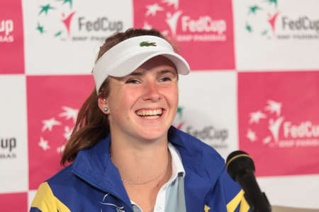 KHARKOV, UKRAINE - APRIL 21, 2012  Elina Svitolina on the press-conference after her debut during Fed Cup tie between USA and Ukraine in Superior Golf   Spa Resort, Kharkov, Ukraine at April 21, 2012 Stock Photo - 13289130