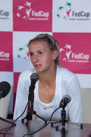 KHARKOV, UKRAINE - APRIL 22, 2012: Lesia Tsurenko talk to press after her second match during Fed Cup tie between USA and Ukraine in Superior Golf and Spa Resort, Kharkov, Ukraine at April 22, 2012 Stock Photo - 13315711