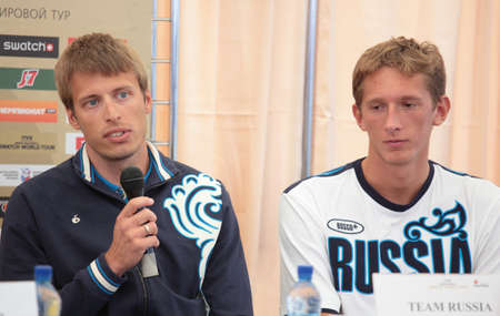 MOSCOW, RUSSIA - JUNE 6  Yaroslav Koshkarev  speak  and Konstantin Semenov on a press conference in opening the Beach Volleyball Swatch World Tour in Moscow, Russia at June 6, 2012