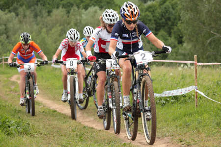 MOSCOW, RUSSIA - JUNE 9: Leading group in womans race during European Mountain Bike Cross-country Championship in Moscow, Russia at June 9, 2012