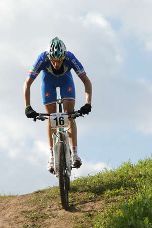 daniele: MOSCOW, RUSSIA - JUNE 9  Daniele Braidot  Italy  in the European Mountain Bike Cross-Country Championship in Moscow, Russia at June 9, 2012 Editorial