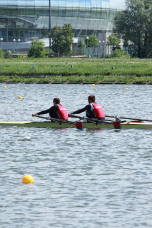 sculling: MOSCOW, RUSSIA - JUNE 9  Vitaliy Dunko and Mihail Baranovskiy  Belarus  in rowing competitions on double sculls during 51th International Grand Moscow Regatta in Moscow, Russia at June 9, 2012