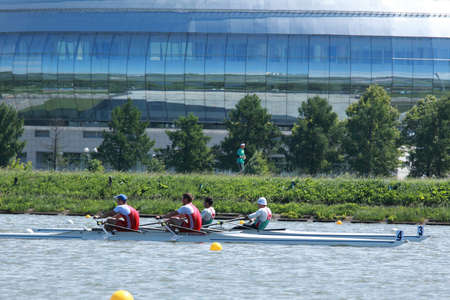 sculling: MOSCOW, RUSSIA - JUNE 9  Rowing competitions on double sculls during 51th International Grand Moscow Regatta in Moscow, Russia at June 9, 2012 Editorial