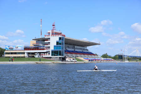 sculling: MOSCOW, RUSSIA - JUNE 9  Olympic rowing stadium during 51th International Grand Moscow Regatta in Moscow, Russia at June 9, 2012