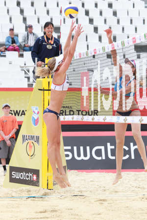 jennifer: MOSCOW, RUSSIA - JUNE 8: Match of Jennifer Kessy (right) and April Ross, USA against Emilia and Erika (left) Nystrom, Finland, during Beach Volleyball Swatch World Tour in Moscow, Russia at June 8, 2012