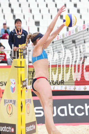 jennifer: MOSCOW, RUSSIA - JUNE 8: Match of Jennifer Kessy and April Ross (pictured), USA against Emilia and Erika Nystrom, Finland, during Beach Volleyball Swatch World Tour in Moscow, Russia at June 8, 2012