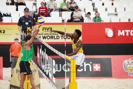slack: MOSCOW, RUSSIA - JUNE 8  Thiago Santos Barbosa  right  and Rhooney de Oliveira Ferramenta, Brazil vs Christopher McHugh and Joshua Slack  left , Australia, during Beach Volleyball Swatch World Tour in Moscow, Russia at June 8, 2012