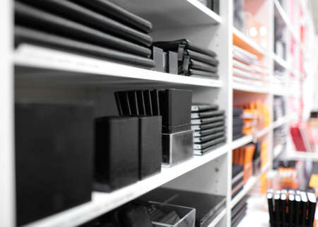 Shelves with stationery in a shop Stok Fotoğraf