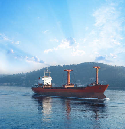 Cargo ship in Bosporus passage photo