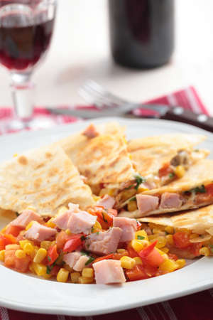 Quesadilla with ham and red wine photo