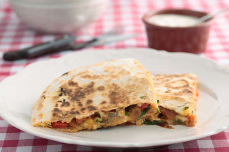 Quesadilla with chicken meat and vegetables photo