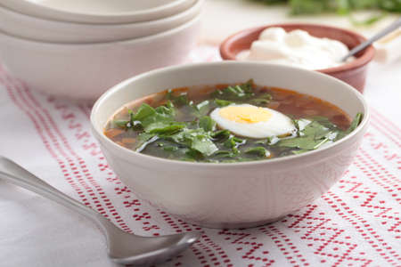 Sorrel soup with boiled egg and sour cream photo