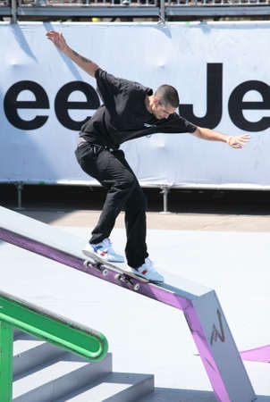 adrenalin: MOSCOW, RUSSIA - JULY 8: Alexandre Massotti, Italy, in skateboarding competitions during Adrenalin Games in Moscow, Russia at July 8, 2012