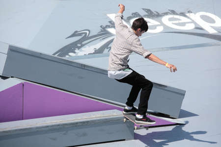 adrenalin: MOSCOW, RUSSIA - JULY 8: Yegor Kaldikov, Russia, in skateboard competitions during Adrenalin Games in Moscow, Russia at July 8, 2012