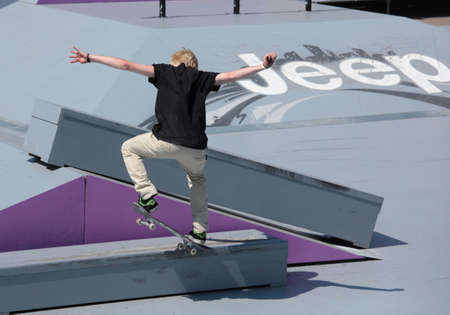 adrenalin: MOSCOW, RUSSIA - JULY 8: Florian Westers, Germany, in skateboard competitions during Adrenalin Games in Moscow, Russia at July 8, 2012