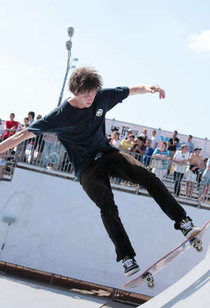 adrenalin: MOSCOW, RUSSIA - JULY 8: Christoph Radtke, Germany, in skateboard competitions during Adrenalin Games in Moscow, Russia at July 8, 2012 Editorial