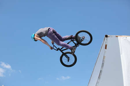 adrenalin: MOSCOW, RUSSIA - JULY 8  Maxim Novoselov, Russia, in BMX competitions during Adrenalin Games in Moscow, Russia at July 8, 2012 Editorial