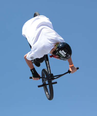 MOSCOW, RUSSIA - JULY 8  Maxim Chuprina, Russia, in BMX competitions during Adrenalin Games in Moscow, Russia at July 8, 2012