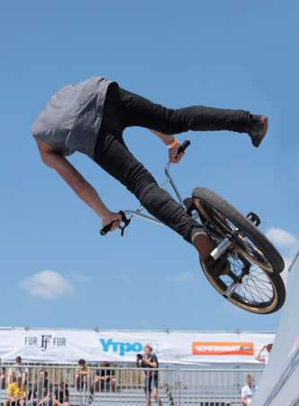 MOSCOW, RUSSIA - JULY 8  Alexander Nikulin, Russia, in BMX competitions during Adrenalin Games in Moscow, Russia at July 8, 2012