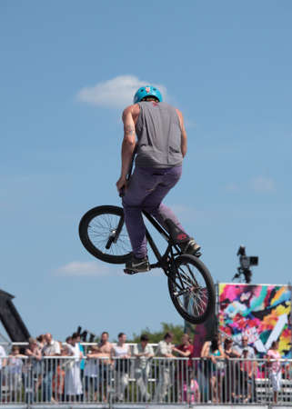 MOSCOW, RUSSIA - JULY 8  Maxim Novoselov, Russia, in BMX competitions during Adrenalin Games in Moscow, Russia at July 8, 2012