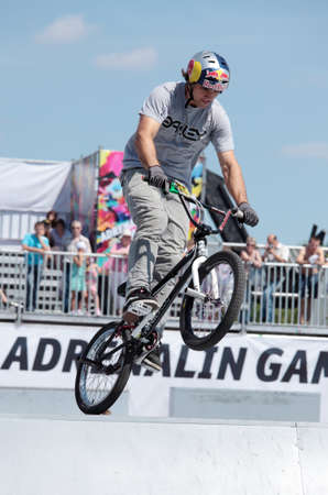 adrenalin: MOSCOW, RUSSIA - JULY 8  Alessandro Barbero, Italy, in BMX competitions during Adrenalin Games in Moscow, Russia at July 8, 2012