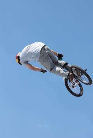 MOSCOW, RUSSIA - JULY 8  Alessandro Barbero, Italy, in BMX competitions during Adrenalin Games in Moscow, Russia at July 8, 2012