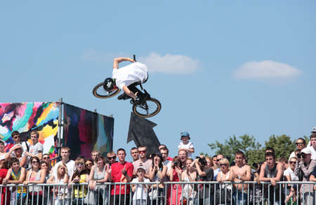 adrenalin: MOSCOW, RUSSIA - JULY 8  Alexander Nikulin, Russia, in BMX competitions during Adrenalin Games in Moscow, Russia at July 8, 2012